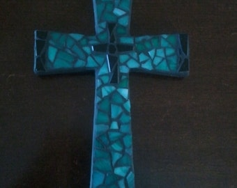 Green and Black Mosaic Cross