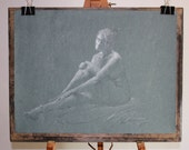 Reserved For DJ-White Chalk Drawing Woman-Charcoal-The Patriarch's Woman