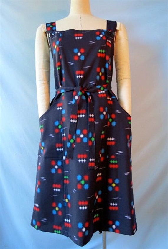 Kimono print pinafore dress, Japanese wrap style, adjustable, fits almost any body.