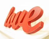 Love Sign, Red Sign, Wood Letter sign, Painted wooden sign, Cursive Love