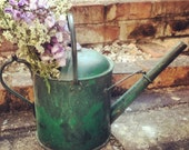 Antique watering can - green - vintage - country cottage garden