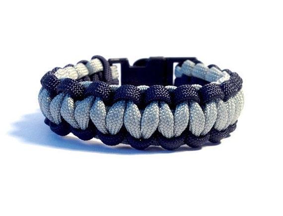 Paracord Bracelet, Survival Bracelet, Blue and Silver, Men's Bracelet, Male Bracelets