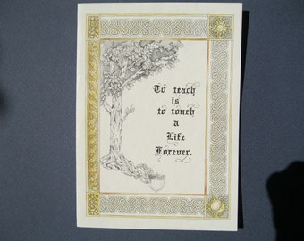 To Teach - Hand-colored, blank note card  code -TT 109