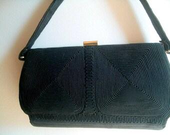 Art Deco Black Corde Handbag 1930s WW11