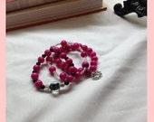 Cara Hot Pink and Black Stretch Bracelet Trio