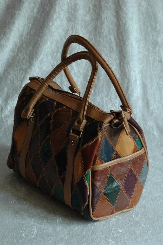 vintage leather  patchwork bag