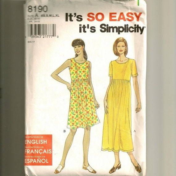 Dress Pattern - Uncut - Sizes XS-S-M-L-XL