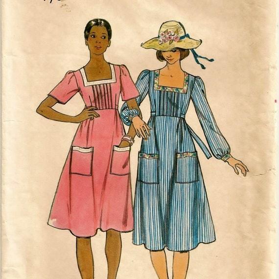 "A Boho Empire Waist, Square Neckline Dress Pattern - Junior Size 7/8, Bust 29"""