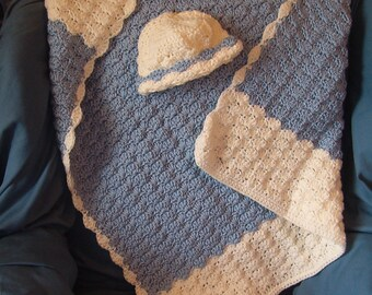 Infant Boys Afghan with Hat