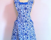 Vintage Style 1940s Apron Blue and White Pinafore Dress