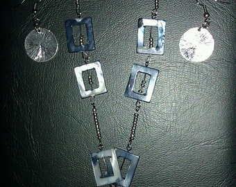 Blue and Silver Beaded Statement Necklace with Matching Earrings