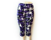 Cropped print leggings - black/purple/white - polyester/spandex - sizes S, M, L