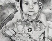 Custom, Hand-Drawn Portrait - by artist Sharon Cohn.