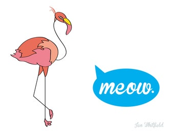 Confused Flamingo Print