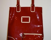 Authentic Estee Lauder Red & Cream Colored 100% PVC Tote Style Purse With Makeup Travel Pouch - Business woman