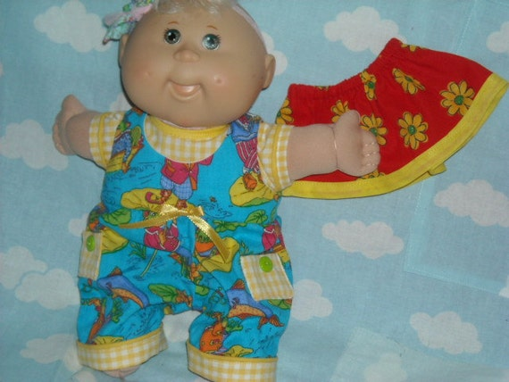 """Cabbage Patch Doll clothes Newborn 10""""  Top, Skirt , Jumpsuit FROGS, FLOWERS, Gingham"""