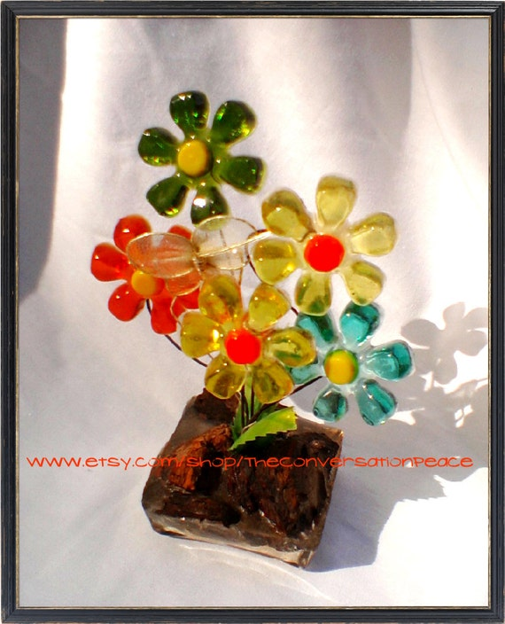 SALE Resin Flowers Decoration with Real Wood in base and Wire Butterfly