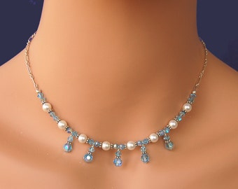 Pearl Necklace Wedding Jewelry  Bridesmaid Necklace Swarovski Pearl and Crystal Necklace