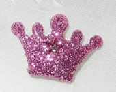 12 pcs Hot Pink Glitter Crowns. Glitter Crown Flat Backs. Glitter Crown Cabochons. Pink Crown Party Favors. Princess Crown Party Favors.