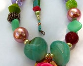 lucite hot pink Rose showcased on this Spring Fling Mix Necklace