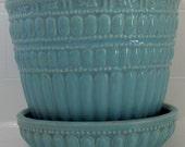 Pale Turquoise Blue Green Planter Vase Pot Pottery Vintage Woven Shape Jardiniere