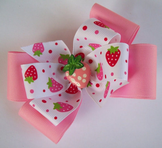 Pink And White Strawberry Boutique Hair Bow