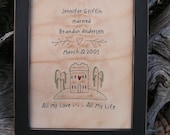 Primitive Stitchery Wedding Sampler- anniversary, bridal shower, Christmas, wedding gift, marriage, parents