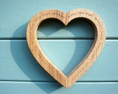 Inscribed Wooden Heart Carved from English Brown Oak