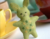 Mini green bunny toy softie - pocket-sized felt rabbit