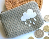 Woolen coin purse- embroidered felt cloud pouch