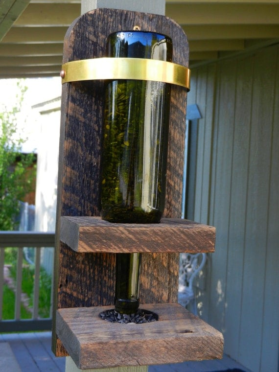 Upcycled wine bottle bird feeder made with by for Upcycled bird feeder