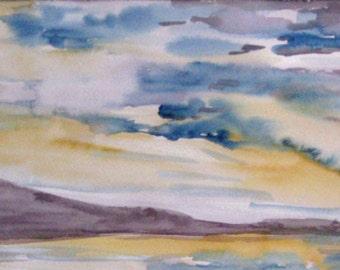Paisaje marítimo,composición color III, acuarela original. Sea Landscape color composition,watercolors original painting,