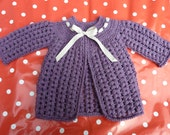 NOW RESERVED/SOLD-Baby Girl (6-12months) Matinee coat / Cardigan in crochet.