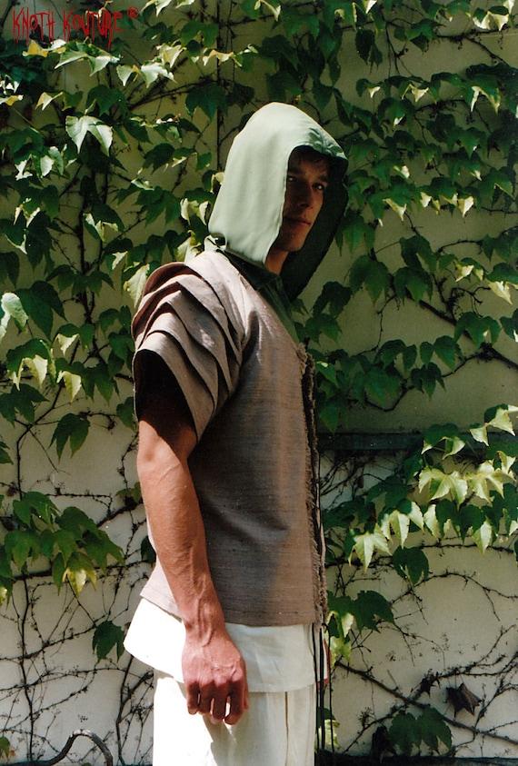 SALE % Sleeveless shirt with big hood for men