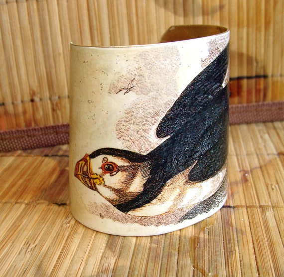 Victorian Puffin Brass Cuff, Art Transfer, Painted Brass, OOAK, Totem, Bird jewelry, Statement