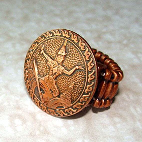 Mid Century  Copper Cufflink  Ring, Asian Temple Dancer Ring, Expansion Band Ring, Unisex
