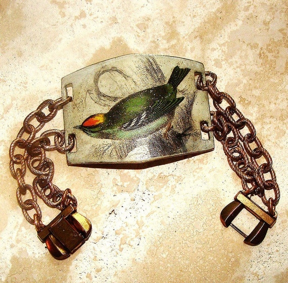 Victorian Bird Bracelet, Art Transfer, Painted Brass, Colorful Finch jewelry