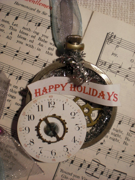Christmas Time, Vintage Pocket Watch Ornaments