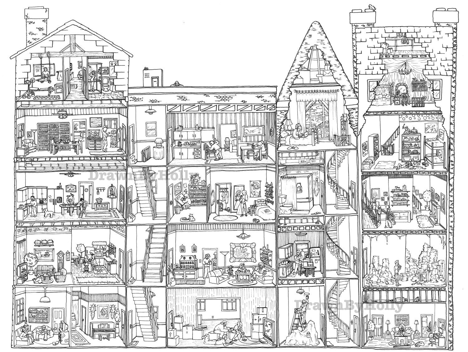 Coloring pages buildings ~ Apartment Building Cross-Section Coloring Poster 18 x