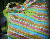 "Retro Patterned and Green ""Love"" Shopping Tote"