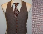 Vintage 1970s MOD Skinny Brown Flecked Tweed Mens Vest 38 Regular 38R