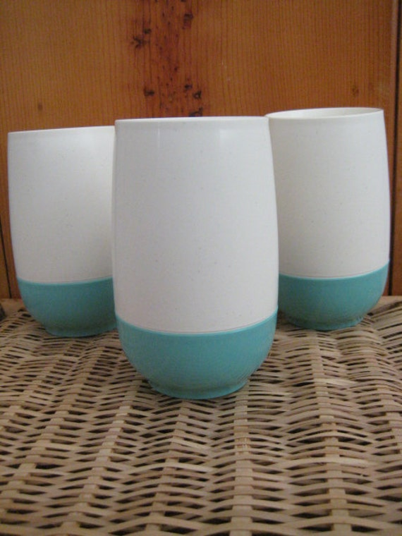 SALE........1950's VACRON Turquoise And White Vacuum Tumblers. Made in USA