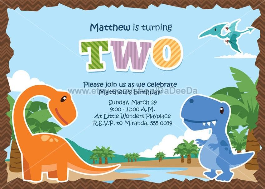 Dinosaur Birthday Invitations Boy Dinosaur Printable by DaDeeDa
