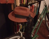 Vintage brown hat. fedora style. long black ribbon. made in the USA.