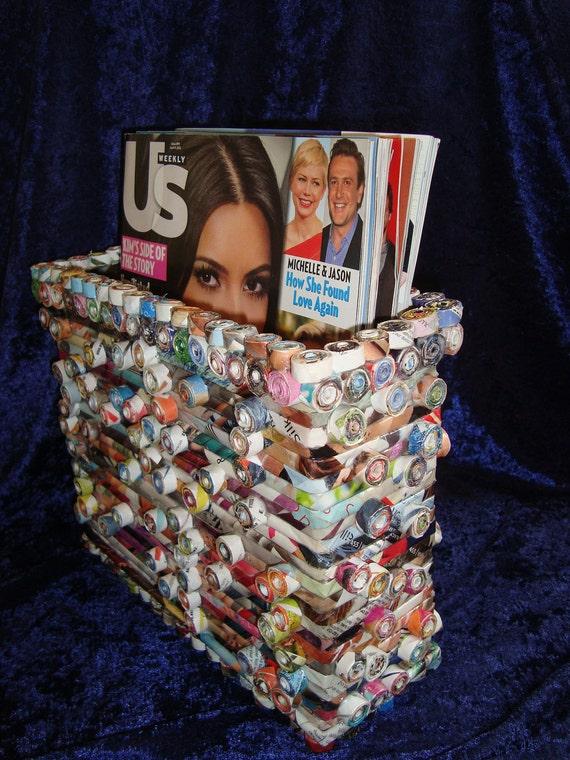 Upcycled Magazine Rack Made Of Magazines