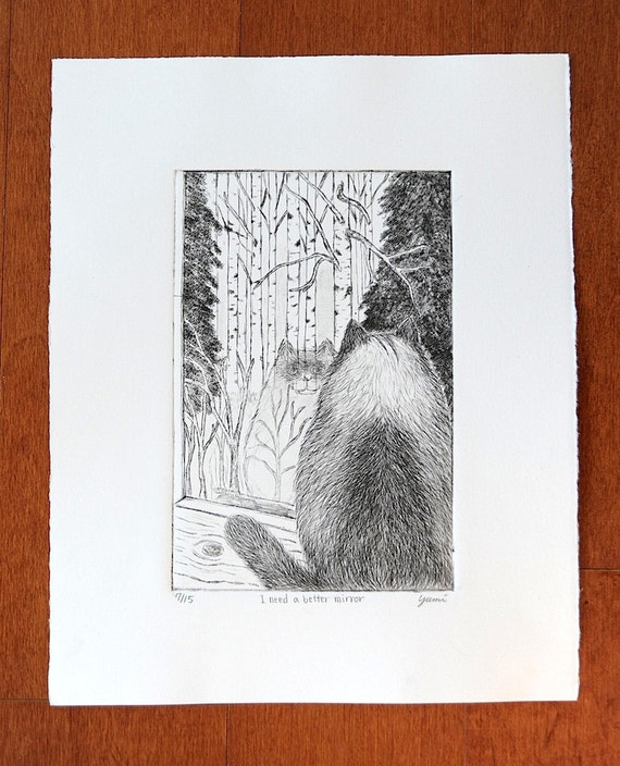 I need a better mirror: Original Drypoint. A Cat looking his reflection in the window