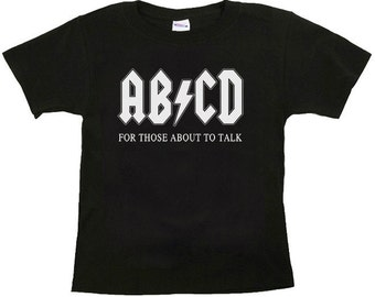 AB/CD Funny Toddler T-shirt 2T in Black or Pink
