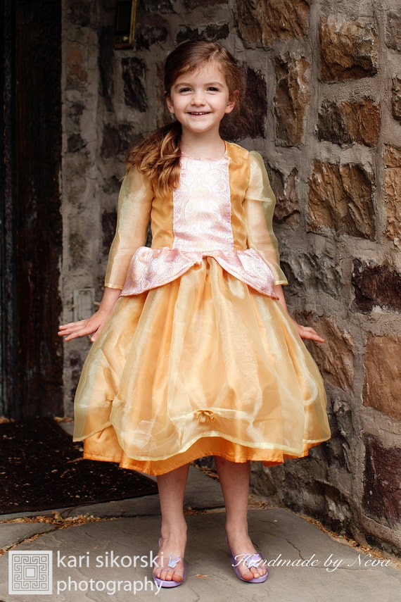 Princess, Cinderella, Disney Girl Dress gold costume for dress up, play or party