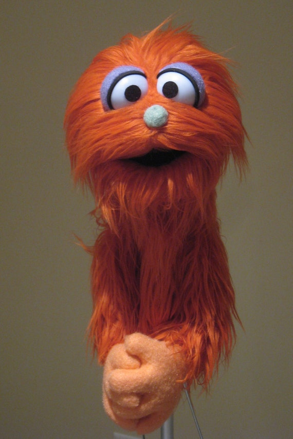 Professional Muppet Style Puppet - Orange Long Haired Monster