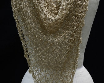 Wedding Shiny Gold Shawl  Hand Made  - Excellent, Elegant, Holiday, Evening, Exclusive, Crochet